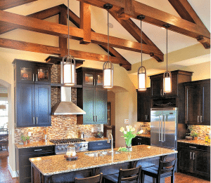 Black Kitcehn w wood beams - HouseTrends