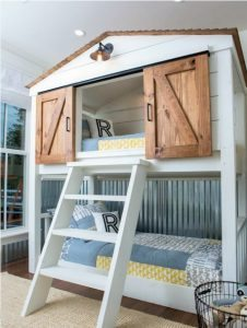 The New Bedroom For Son Featured Bunk Beds And On Upper Level A Farm House Of His Own Complete With Sliding Barn Doors