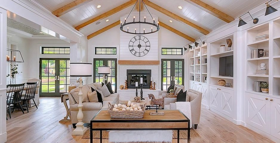Dramatic modern farmhouse with stunning white and black for Farmhouse designs photos